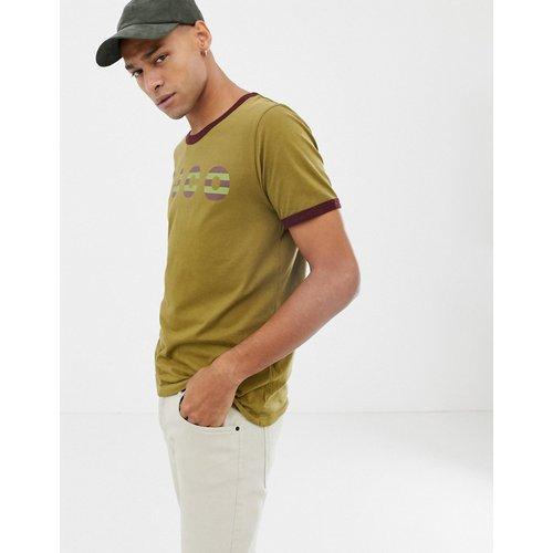 Co - Kurt - T-shirt à bordures contrastantes avec logo - Kaki - Nudie Jeans - Modalova