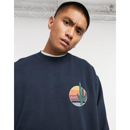 Co - Lukas - Sweat-shirt à logo cactus - Bleu marine - Nudie Jeans - Modalova