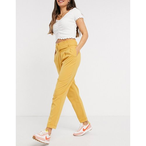 Sica - Pantalon taille haute froncée avec ceinture - Jaune moutarde - Only - Modalova