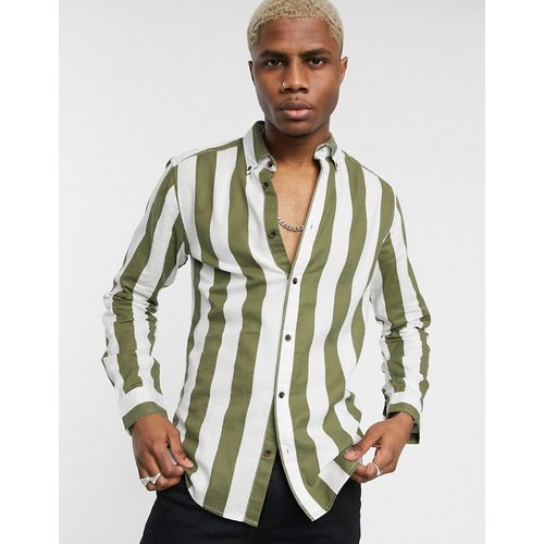Chemise coupe slim boutonnée à grosses rayures - Only & Sons - Modalova
