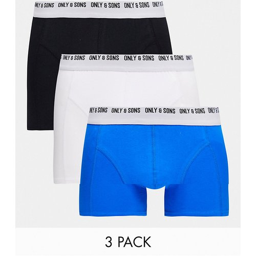 Lot de 3 boxers - Blanc/bleu et - Only & Sons - Modalova