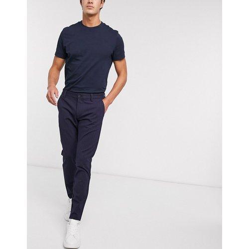 Pantalon stretch habillé à rayures tennis - Bleu - Only & Sons - Modalova
