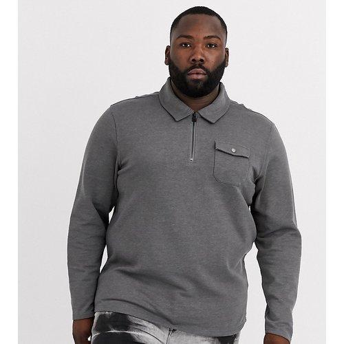 Plus - Sweat-shirt à fermeture à glissière partielle et poche avant - Gris - Only & Sons - Modalova