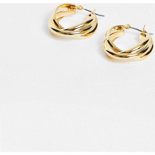 Boucles d'oreilles style créoles entrelacées - Plaqué or - Orelia - Modalova