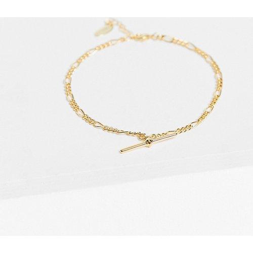 Bracelet de cheville chaîne à maille figaro en plaqué or avec barre en T - Orelia - Modalova