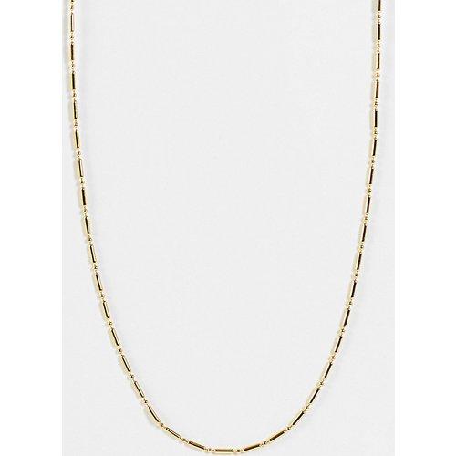 """Collier chaîne 15"""" avec maillons boule et barre en plaqué or - Orelia - Modalova"""