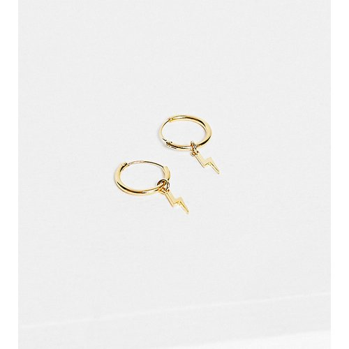 Petites créoles avec mini pendant éclair en plaqué or - Orelia - Modalova