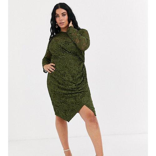Robe portefeuille courte en dentelle à manches longues - Olive - Paper Dolls Plus - Modalova