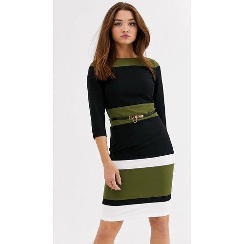 Robe courte à rayures avec ceinture - Vert olive et noir - Paper Dolls - Modalova