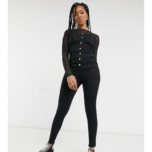 Combinaison en jean à bretelles fines et boutonnée sur le devant - Anthracite - Parisian Tall - Modalova