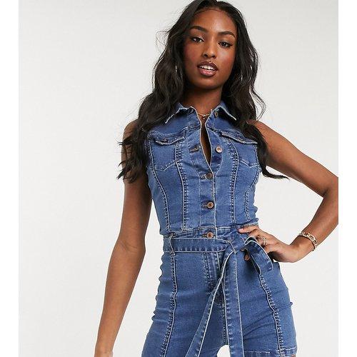 Combishort en jean noué à la taille - Bleu délavé moyen - Parisian Tall - Modalova