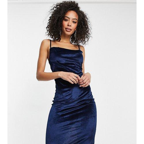 Robe mi-longue en velours à bretelles fines et col bénitier - Bleu - Parisian Tall - Modalova