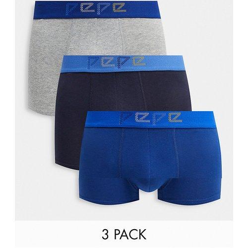 Ned - Lot de 3 boxers - Bleu et gris chiné - Pepe Jeans - Modalova