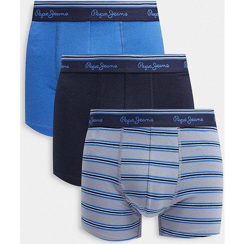 Theon - Lot de 3 boxers à rayures - Bleu - Pepe Jeans - Modalova