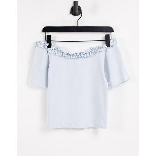 T-shirt à épaules dénudées et encolure volantée - pastel - Pieces - Modalova