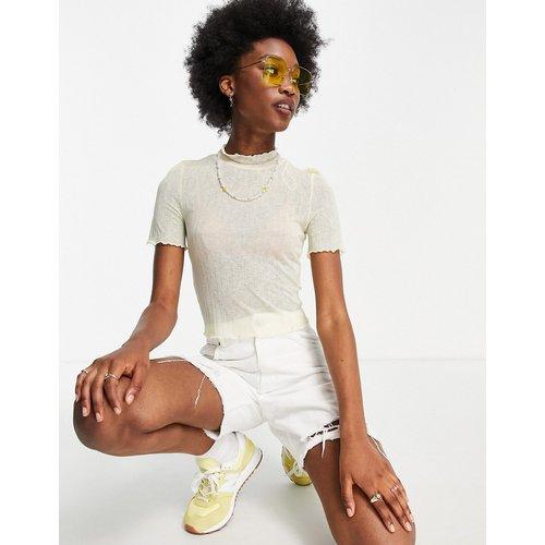 T-shirt crop top col montant à manches courtes - Amande - Pieces - Modalova
