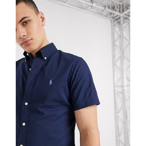 Chemise coupe slim en popeline à manches courtes avec logo joueur de polo - Bleu marine - Polo Ralph Lauren - Modalova