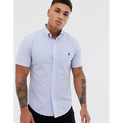 Chemise manches courtes ajustée en crépon de coton rayé avec poche à logo joueur - /Blanc - Polo Ralph Lauren - Modalova