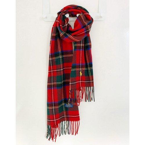 Écharpe en laine recyclée à carreaux écossais avec logo joueur de polo - Polo Ralph Lauren - Modalova