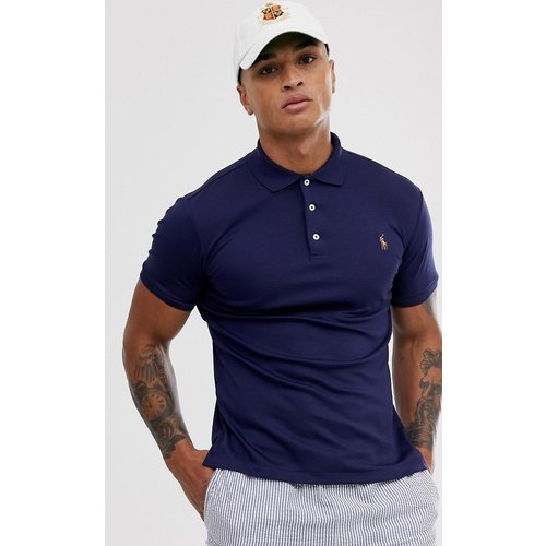 Polo slim en coton pima avec logo joueur multicolore - Bleu marine - Polo Ralph Lauren - Modalova
