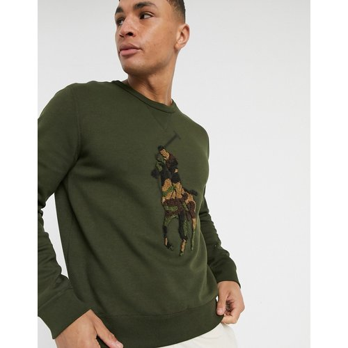 Sweat-shirt ras de cou avec grand logo joueur de polo en tissu éponge à motif camouflage - olive - Polo Ralph Lauren - Modalova