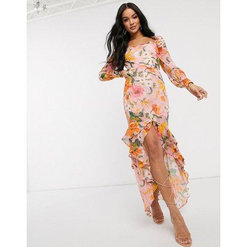 Robe mi-longue à encolure carrée et motif floral - Pretty Darling - Modalova