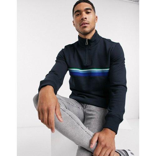 Sweat-shirt à grosses rayures avec demi-fermeture éclair - Bleu marine - PS Paul Smith - Modalova