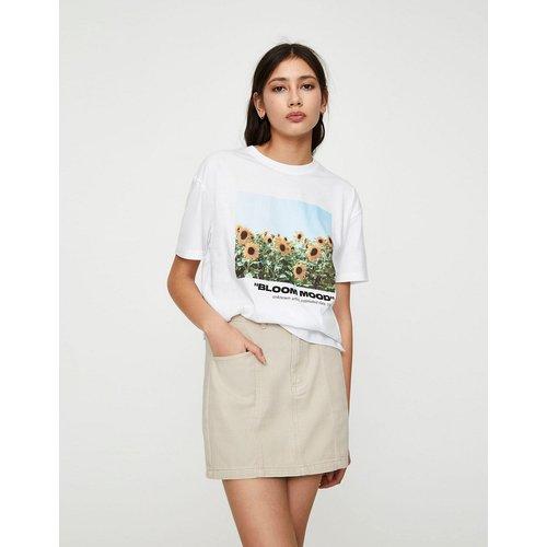 Bloom Mood - T-shirt à motif tournesols - Blanc - Pull&Bear - Modalova