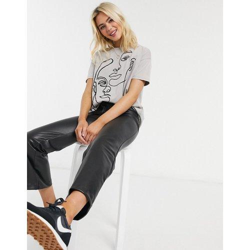T-shirt à imprimé visage abstrait graphique - Pull&Bear - Modalova