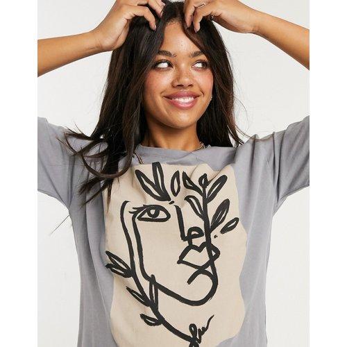 T-shirt à imprimé visage graphique - délavé - Pull&Bear - Modalova