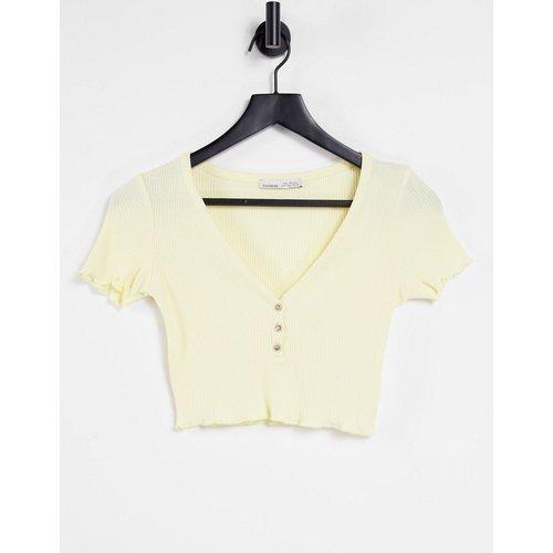- T-shirt court boutonné en jersey - Pull&Bear - Modalova