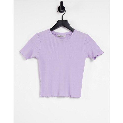 T-shirt crop top à bord ondulé - Pull&Bear - Modalova