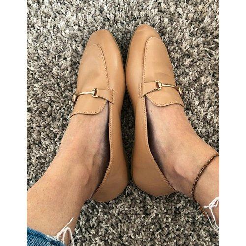 Vella - Chaussures plates à bout carré et détails dorés - Beige - Raid - Modalova