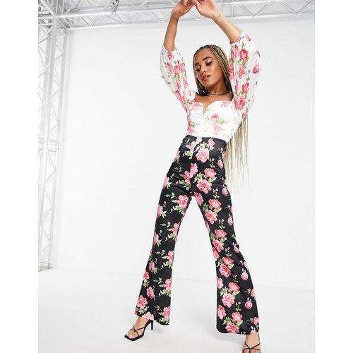 London - Combinaison à épaules dénudées avec imprimé floral bicolore - rare - Modalova