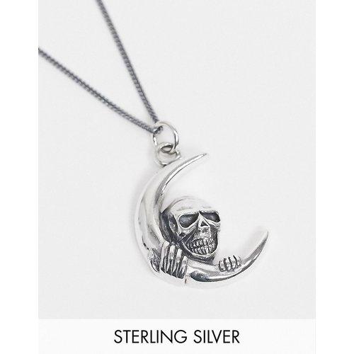Inspired - Collier avec pendentif lune en argent poli et massif - Argent - Reclaimed Vintage - Modalova