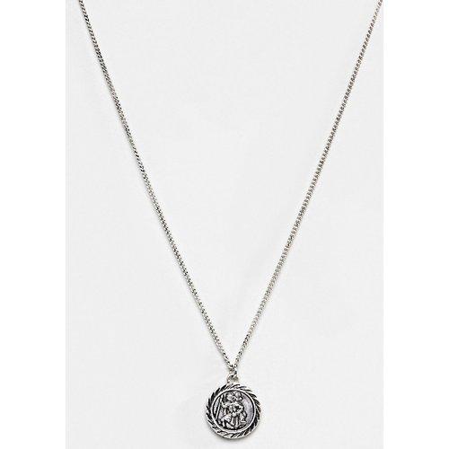 Inspired - Collier avec pendentif St Christophe - Argent poli - Reclaimed Vintage - Modalova