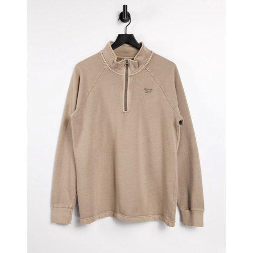 Sweat-shirt à teinture naturelle avec logo centré et col zippé - Reebok - Modalova