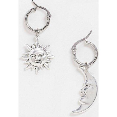 Boucles d'oreilles dépareillées soleil et lune en plaqué argent - Regal Rose - Modalova