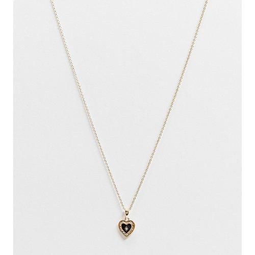 Solemn - Collier en argent massif avec pendentif cœur en émail noir - Plaqué or - Regal Rose - Modalova