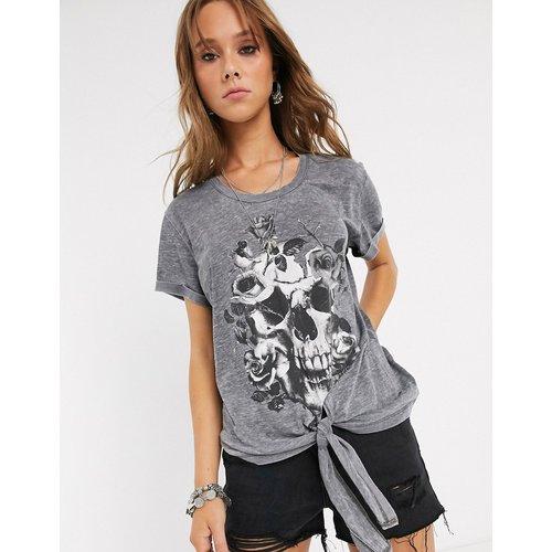 Virtuous - T-shirt noué sur le devant à imprimé couronne de fleurs - Religion - Modalova