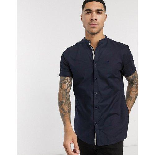 Chemise Oxford à manches courtes avec col grand-père - Bleu marine - River Island - Modalova