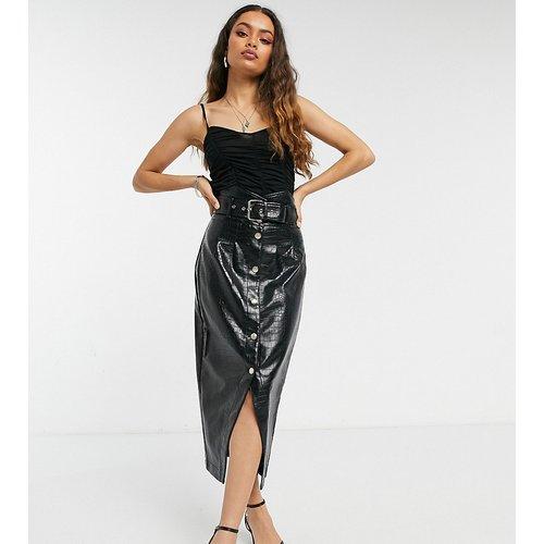 Jupe mi-longue taille haute en imitation cuir - River Island Petite - Modalova