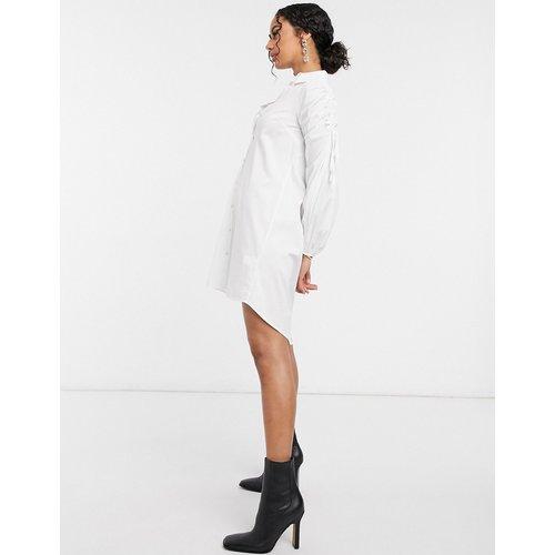 Robe chemise courte en popeline avec manches froncées - River Island - Modalova