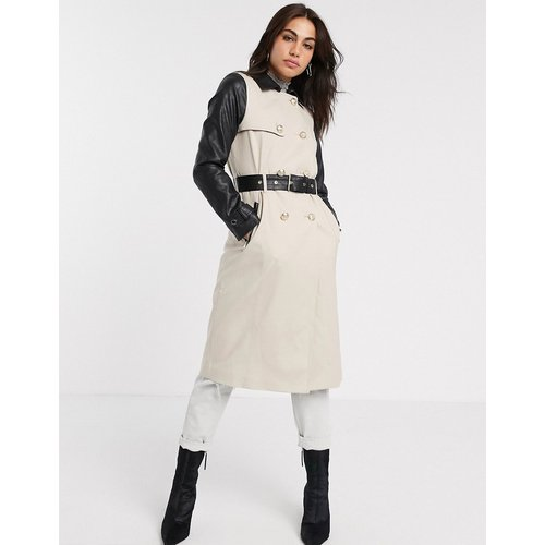 Trench-coat avec manches en similicuir - River Island - Modalova