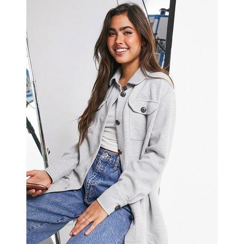 Veste boutonnée style chemise en jersey - Kaki - River Island - Modalova