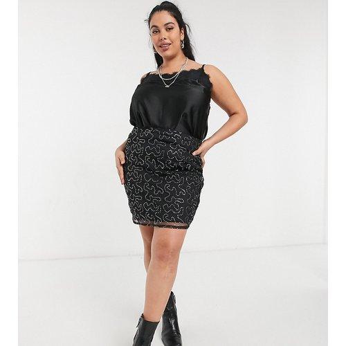 Mini-jupe moulante d'ensemble en tulle à sequins - Rokoko Plus - Modalova