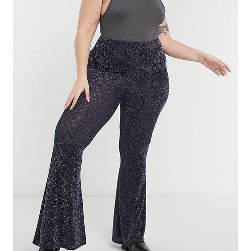 Pantalon évasé pailleté d'ensemble à taille haute - Rokoko Plus - Modalova