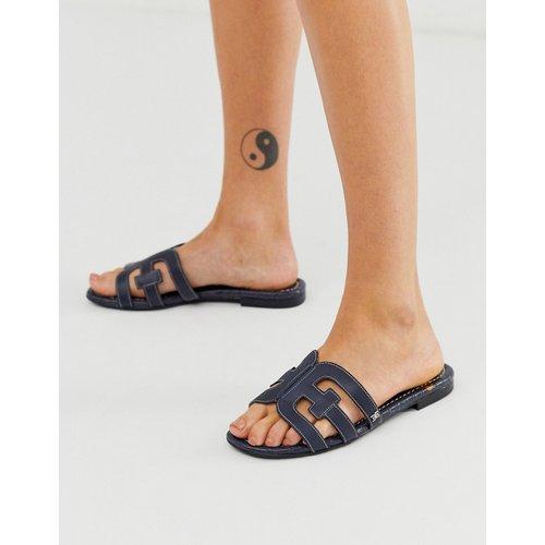 Sandales plates style mules à brides croisées motif croco - Bleu marine - Sam Edelman - Modalova