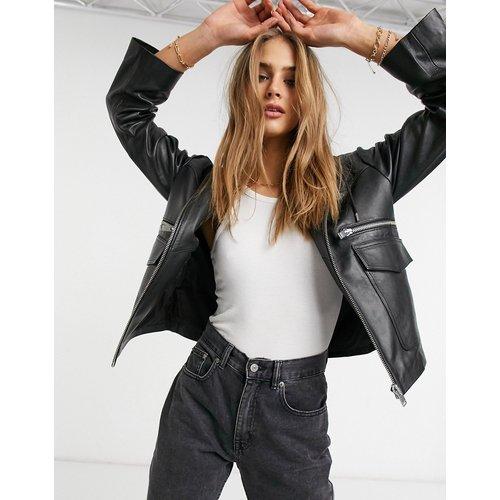 Veste en cuir à capuche - Selected - Modalova