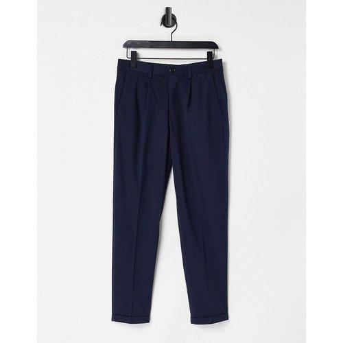 Pantalon de costume coupe courte fuselée en jersey - Bleu - Selected Homme - Modalova
